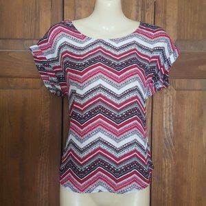 Pink Republic Red Black Zig Zag Short Sleeve Top